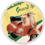 1955 - Vespa Grand Sport Motor Scooter Advertisement - Color Round Beach Towel