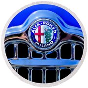 1956 Alfa Romeo Sprint Veloce Coupe Ultra Light Grille Emblem Round Beach Towel