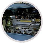 1956 Austin Healey Engine Round Beach Towel