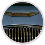 1956 Austin-healey Grill Hood Ornament Round Beach Towel