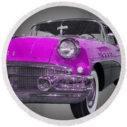 1956 Buick Special Riviera Coupe-purple Round Beach Towel