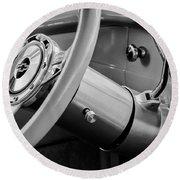1956 Chevrolet 210 2-door Handyman Wagon Steering Wheel Emblem -189bw Round Beach Towel
