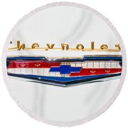 1956 Chevrolet 210 Emblem Round Beach Towel