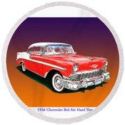 1956 Chevrolet Bel Air Ht Round Beach Towel