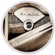 1956 Chevrolet Belair Nomad Dashboard Emblem Round Beach Towel