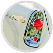 1956 Chevrolet Beliar Nomad Taillight Emblem Round Beach Towel