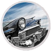 1956 Chevrolet With Blue Skies Round Beach Towel