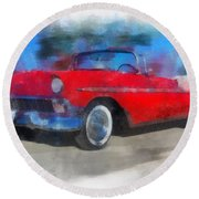 1956 Chevy Car Photo Art 01 Round Beach Towel