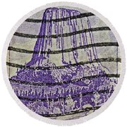 1956 Devils Tower National Monument Stamp Round Beach Towel
