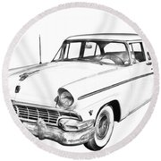 1956 Ford Custom Line Antique Car Illustration Round Beach Towel