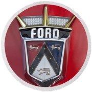 1956 Ford Fairlane Emblem Round Beach Towel
