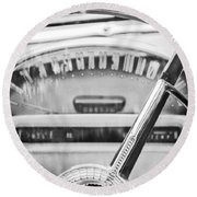 1956 Ford Thunderbird Steering Wheel -260bw Round Beach Towel