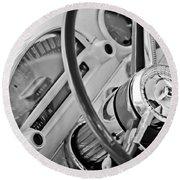 1956 Ford Thunderbird Steering Wheel -322bw Round Beach Towel