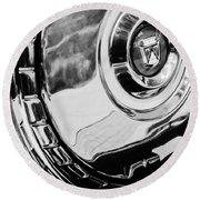 1956 Ford Thunderbird Wheel Emblem -232bw Round Beach Towel