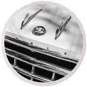 1956 Hudson Rambler Station Wagon Grille Emblem - Hood Ornament Round Beach Towel by Jill Reger
