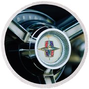 1956 Lincoln Continental Mark II Hess And Eisenhardt Convertible Steering Wheel Emblem Round Beach Towel