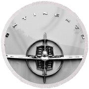1956 Lincoln Continental Rear Emblem Round Beach Towel
