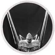 1956 Lincoln Premiere Convertible Hood Ornament 2 Round Beach Towel