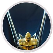 1956 Lincoln Premiere Convertible Hood Ornament Round Beach Towel