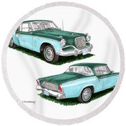 1956 Studebaker Coming And Going Round Beach Towel