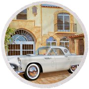 1956 Thunderbird At Palm Beach  Classic Vintage Ford Art Sketch Rendering          Round Beach Towel
