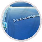 1956 Volkswagen Vw Bug Hood Emblem Round Beach Towel