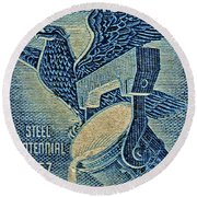 1957 America And Steel Growing Together Stamp Round Beach Towel