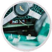 1957 Aston Martin Dbr2 Steering Wheel Emblem -2345c Round Beach Towel