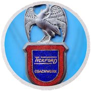 1957 Aston Martin Mk IIi Prototype - Tickford Coachwork Emblem Round Beach Towel