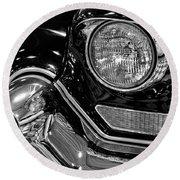 1957 Cadillac Coupe De Ville Headlight Round Beach Towel