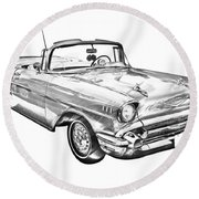 1957 Chevrolet Bel Air Convertible Illustration Round Beach Towel
