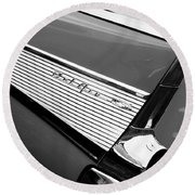 1957 Chevrolet Belair Convertible Taillight Emblem Round Beach Towel