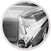 1957 Chevrolet Belair Coupe Tail Fin -019bw Round Beach Towel
