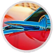 1957 Chevrolet Belair Hood Ornament Round Beach Towel