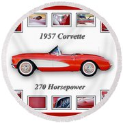 1957 Chevrolet Corvette Art Round Beach Towel