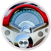 1957 Chevrolet Corvette Convertible Steering Wheel Round Beach Towel