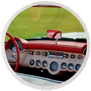 1957 Chevrolet Corvette Roadster Dashboard Round Beach Towel