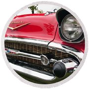 1957 Chevy Bel Air Front End Round Beach Towel