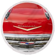 1957 Chevy Front End Round Beach Towel