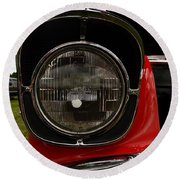 Old Car Headlight Round Beach Towel