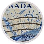 1957 David Thompson Canada Stamp Round Beach Towel