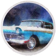 1957 Ford Classic Car Photo Art 02 Round Beach Towel