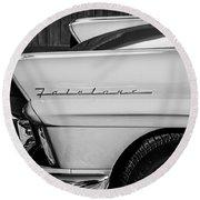 1957 Ford Fairlane Emblem -359bw Round Beach Towel