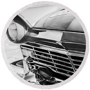 1957 Ford Fairlane Grille -107bw Round Beach Towel