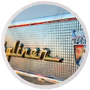 1957 Ford Skyliner Retractable Hardtop Emblem Round Beach Towel