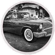 1957 Ford Thunderbird Convertible Bw Round Beach Towel