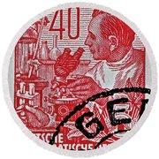 1957 German Democratic Republic Chemist Stamp Round Beach Towel