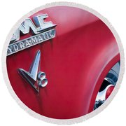 1957 Gmc V8 Pickup Truck Gmc Hydra-matic Emblem Round Beach Towel