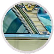 1957 Mercury Monterey Sedan Emblem Round Beach Towel