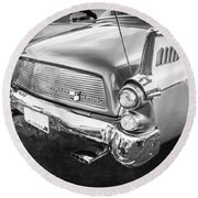 1957 Studebaker Golden Hawk Bw    Round Beach Towel